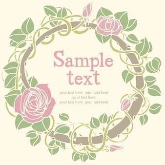 Cartão redondo da flor de rosa
