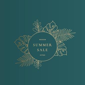 Cartão redondo de venda de verão com folhas tropicais de monstera ou modelo de banner