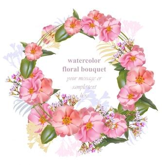 Cartão redondo floral com moldura de grinalda de aquarela. bouquet vintage bouquet de beleza