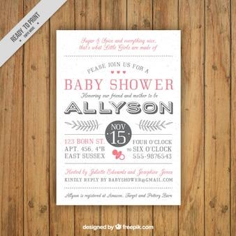 Cartão retro bonito do chuveiro de bebê