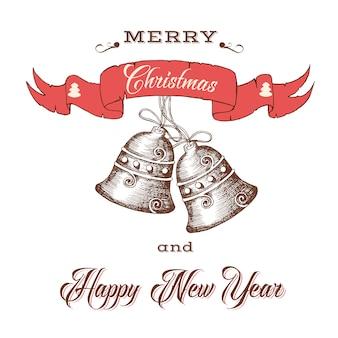 Cartão retro com sinos desenhados à mão e inscrição festiva.