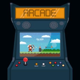 Cartão retro da máquina da arcada do videogame