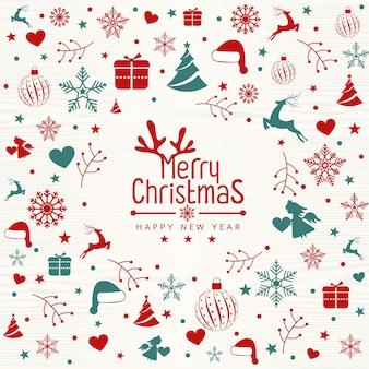 Cartão retro do feliz natal do vintage com tipografia