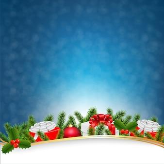 Cartão retro do natal azul
