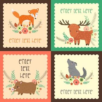 Cartão retro dos animais
