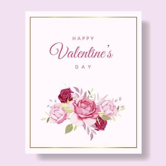 Cartão romântico feliz dia dos namorados com corações e flores