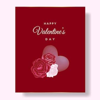 Cartão romântico feliz dia dos namorados com flores e corações vermelhos