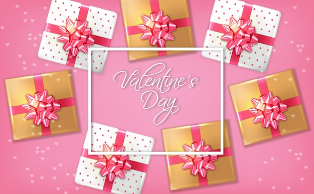 Cartão romântico rosa com caixas de presente