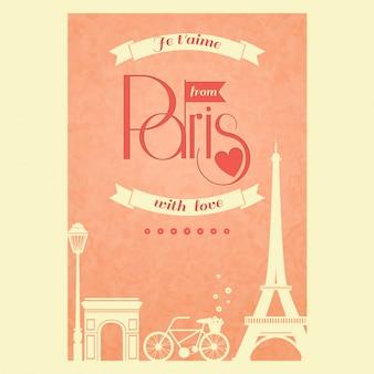 Cartão romântico sobre paris