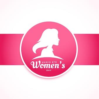 Cartão rosa elegante para o dia internacional da mulher