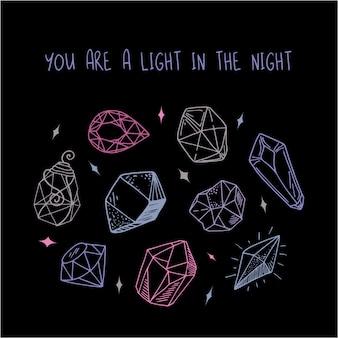 Cartão - rosa, roxo, azul, cristais ou pedras preciosas no preto, pedras preciosas, diamantes