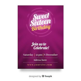 Cartão roxo do convite do partido do doce dezesseis