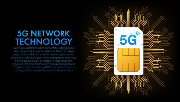 Cartão sim 5g. vista isométrica. símbolo de tecnologia de telecomunicações móveis. ilustração vetorial.