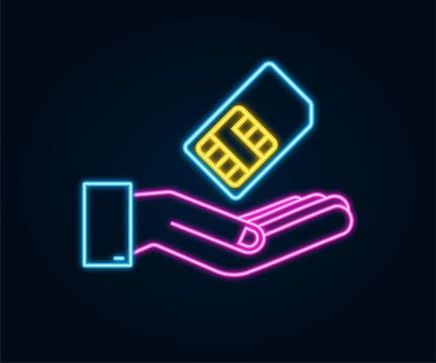 Cartão sim de celular neon móvel nas mãos. chip isolado no fundo branco.