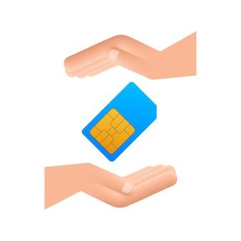 Cartão sim do telefone celular móvel do vetor nas mãos. chip isolado no fundo branco.