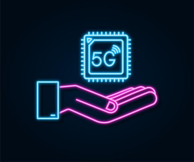 Cartão sim integrado 5g esim com as mãos em néon ícone símbolo conceito novo chip