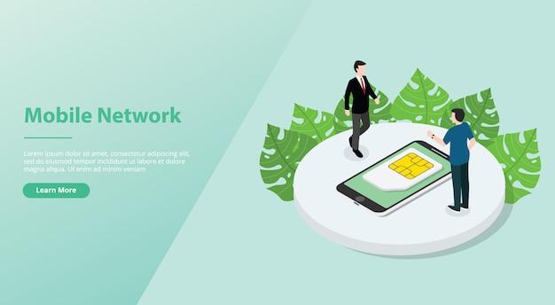 Cartão sim ou rede de tecnologia móvel simcard com smartphone e pessoas para o modelo de site.