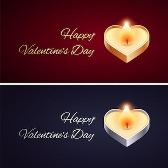 Cartão simples de dia dos namorados com vela dourada e prateada