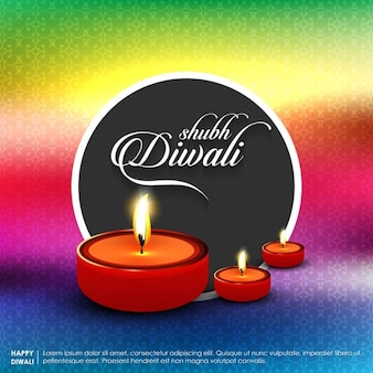 Cartão subh diwali com lâmpadas de fundo e óleo