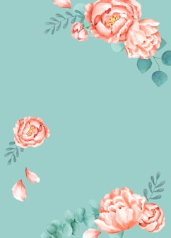 Cartão temático floral com fundo verde