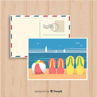 Cartão tirado mão do verão da costa da praia