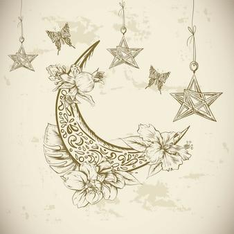 Cartão tradicional com flores de árabe, estrelas e lua, ilustração em vetor ramadan kareem mão desenhada