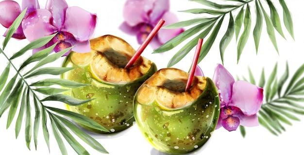 Cartão trópico de coquetel de coco. flores de orquídea coloridas e coco beber verão quente exótico