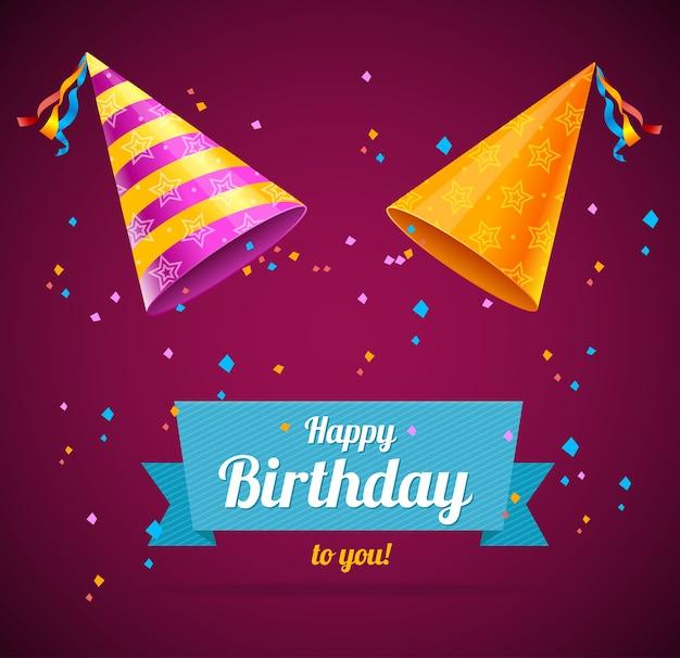 Cartão vector birthay com dois chapéus de festa e espaço para texto