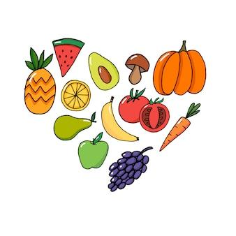 Cartão vector concept - dia mundial da saúde legumes frutas