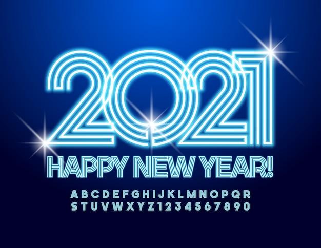 Cartão vector neon feliz ano novo 2021