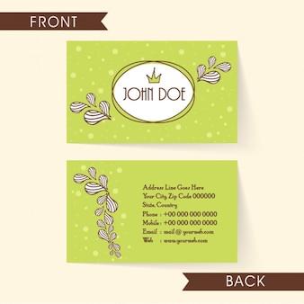 Cartão verde com folhas brancas