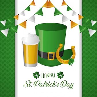 Cartão verde de chapéu e cerveja