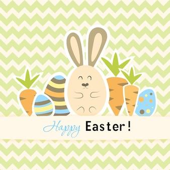Cartão verde de páscoa com cenouras e coelho. ilustração vetorial