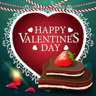 Cartão verde do dia dos namorados com doces de chocolate