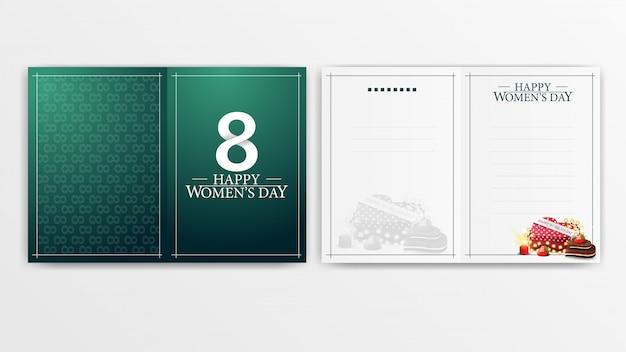Cartão verde para o dia das mulheres pronto para imprimir