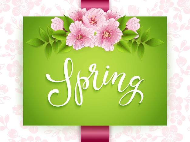 Cartão verde primavera com flores cor de rosa
