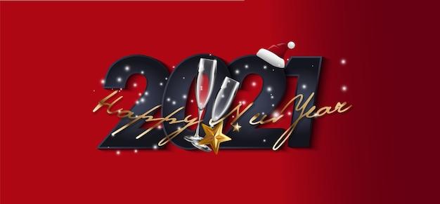 Cartão vermelho cartão de feliz ano novo em estilo jornal