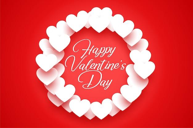 Cartão vermelho com moldura de corações brancos dos namorados