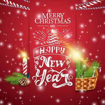 Cartão vermelho de natal com cesta de natal e vela