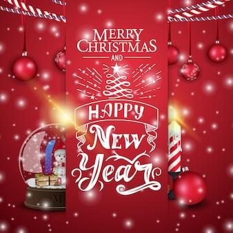 Cartão vermelho de natal com globo de neve e vela