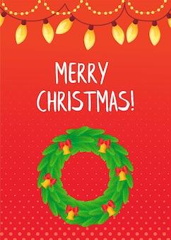 Cartão vermelho tradicional de natal com coroa de flores em estilo cartoon