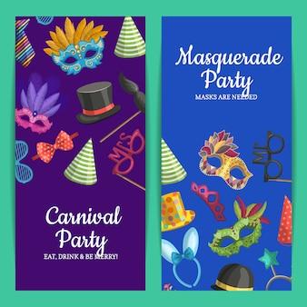 Cartão vertical ou flyer com máscaras e acessórios de festa