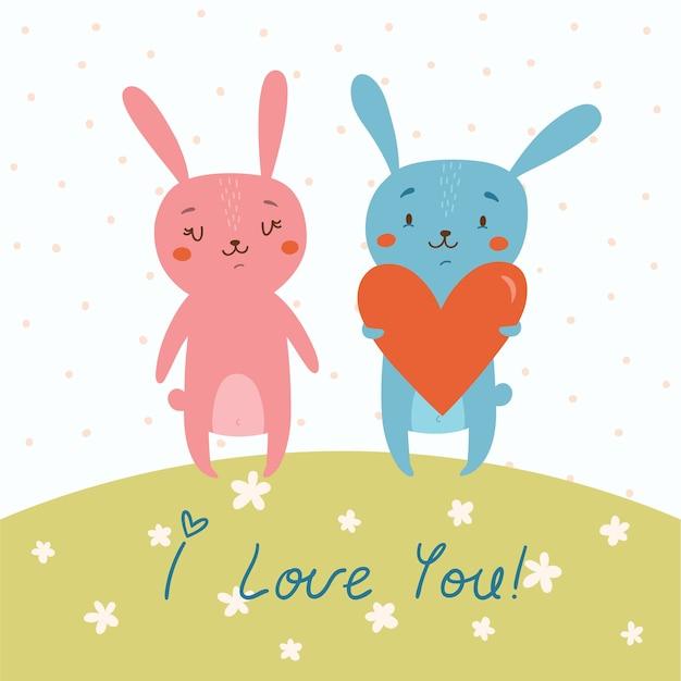 Cartão vetorial com coelhos fofos apaixonados