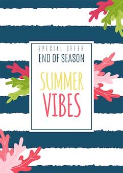 Cartão vibes flat summer como oferta especial sazonal.