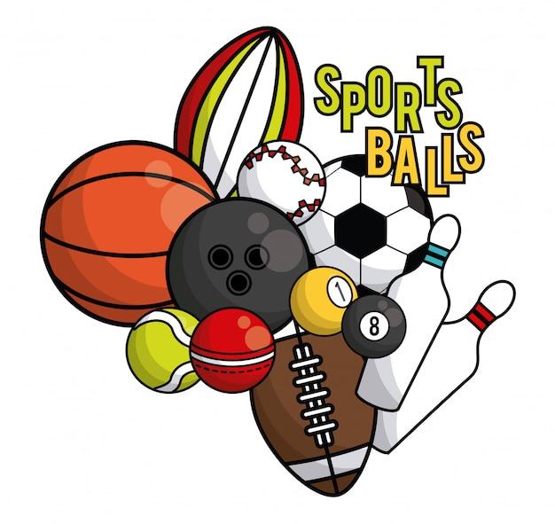 Cartão vibrante do equipamento das bolas dos esportes