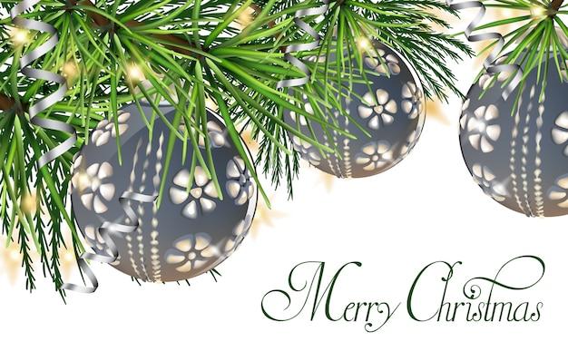 Cartão vintage com bolas de natal na árvore do abeto