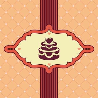 Cartão vintage com bolo de casamento