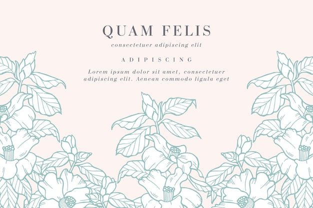 Cartão vintage com flores camélia. guirlanda floral. quadro de flores para floricultura com desenhos de etiquetas.