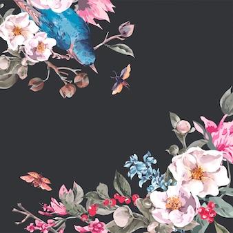 Cartão vintage com flores cor de rosa, besouros e pássaros