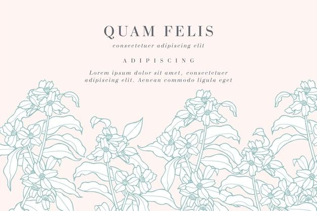 Cartão vintage com flores de jasmim